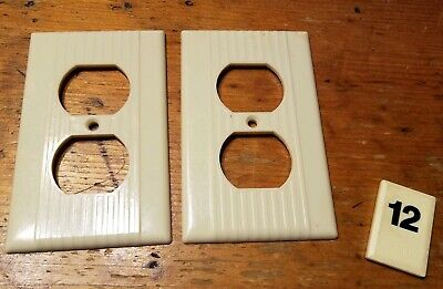 2 Vtg Leviton Deco Single Gang Outlet Wall Plate Cover Ribbed Bakelite - B12  tc