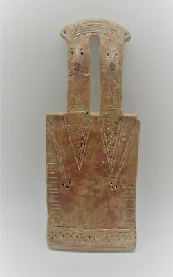 Extremely Rare Ancient Cypriot Two Headed Terracotta 'Plank' Type Idol 2000Bce