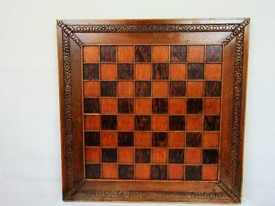 ANTIQUE OR VINTAGE ENGLISH X LARGE CHESS BOARD 55.8 cm SQUARES OF 47 mm
