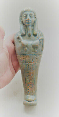 Circa 600-300Bce Ancient Egyptian Glazed Faience Ushabti Shabti With Heiroglyphs