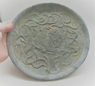 Ancient Sasanian Chlorite Carved Plate With Animal Impression 500Ad