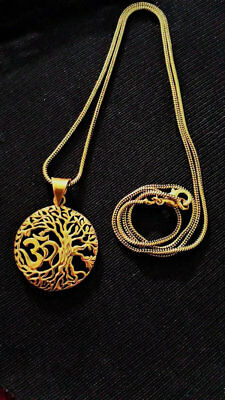 Tribal Ethnic Boho Brass Pendant With Chain Tree Of Life Om