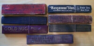 Lot of 7 Vintage Straight Razor Boxes - German, English, Swedish