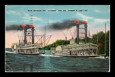 Us Linen Postcard Famous Steamboat Race Between Natchez & Robert E Lee
