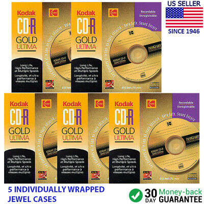 Kodak CD-R Gold Ultima 1x-8x 650MB 74min LONG LIFE Recordable Pack of 5