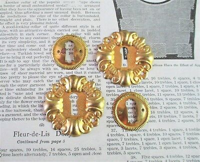 Two Pairs of Vintage Brass Key Holes / Escutcheons