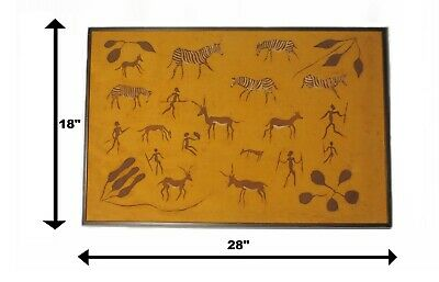 SIGNED LINEN PAINTING 28x18AFRICAN NATIVE HUNT CAVE DRAWING PETROGLYPH ROCK ART