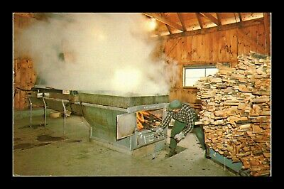 Us Postcard Man Boiling Sap Maple Sugar Time In Vermont
