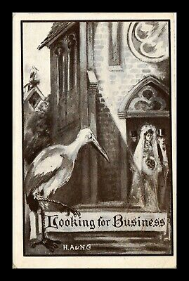 Us Postcard Sepia Humor Cartoon Stork Waiting For Newlywed Couple