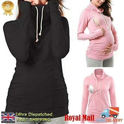 Womens Pregnant Maternity Clothes Nursing Tops Breastfeeding Hooded Shirt Blouse