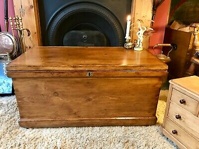 Fabulous Antique Victorian Vintage Old Pine Chest / Trunk / Blanket Box c1870's