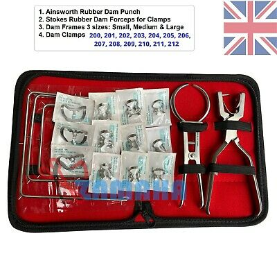Dental Rubber Dam Set Ainsworth rubber dam punch Forceps+2 Frames+ 13 Clamps CE