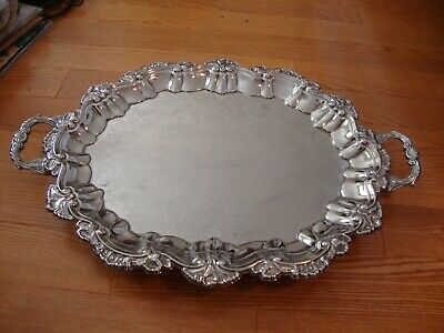 Old English Reproduction Silverplate  Serving Tray With Claw Feet