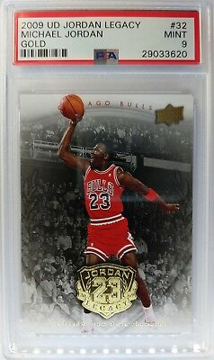 2009 09 UD Gold Legacy Michael Jordan 88 Dunk Champ #32, PSA 9, Pop 5 only 25 ^