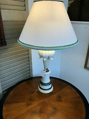 Antique Lotus White/Green Alabaster/Marble Lamp with shade