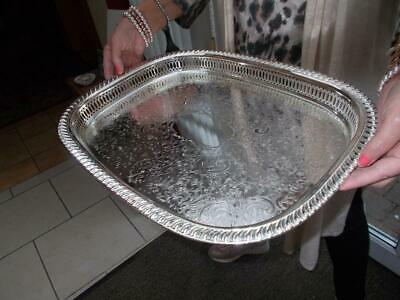 Large Vintage Silver Plated Fret Cut Gallery Tray Superb Condition Never Used
