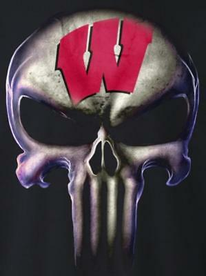 (2) Wisconsin Badgers Glossy Punisher Skull Vinyl Stickers 5x3.5 Car Decal