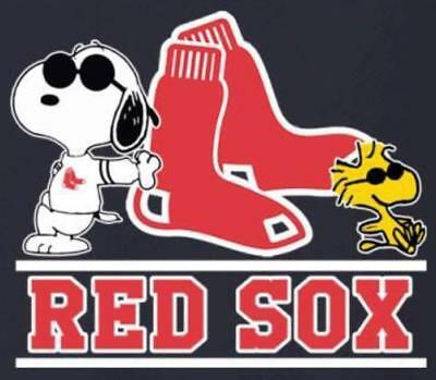 (3) Boston Red Sox With Snoopy Waterproof Vinyl Stickers Car Decal 3x2.7 MLB