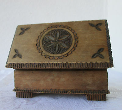 antique vintage  hand pyrography wooden box with ornaments
