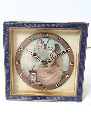 Swiss 8 Day Travel clock. Painted Dial. *Old Father Time* (FULL WORKING ORDER) !