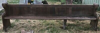Charming Victorian Solid Oak Church Pew Late 1800's Antique 8ft Long