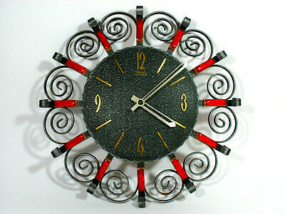 1960/70s SUNBURST DESIGN DIEHL electronic MCM METAL /CERAMIC WALL CLOCK WORKING