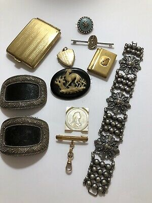 Antique Victorian Collection Of Jewellery , Silver , Gilt Metal