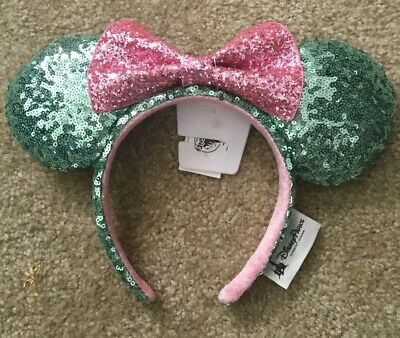 Disney Minnie Mouse Mint Green Sequin with Sequin Pink Bow Ears Headband NWT