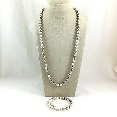 Sterling Silver 8mm Ball Bead Link Chain Necklace & Bracelet Set