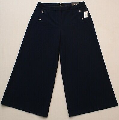 Womens Cropped Navy Blue Dress Pants, ROZ & ALI, Wide Leg, Size 4, NEW