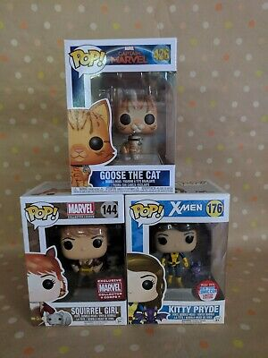 Funko Pop Marvel Trio (Lot of 3 Pops): Goose, Kitty Pryde, Squirrel Girl