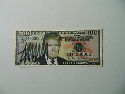 """""""45th US President"""" Donald Trump Signed 2016 Federal Trump Note Todd Mueller COA"""