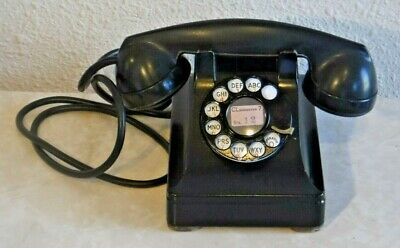 Western Electric 302 Wired + Working Rotary Dial Desk Set RARE Metal Telephone