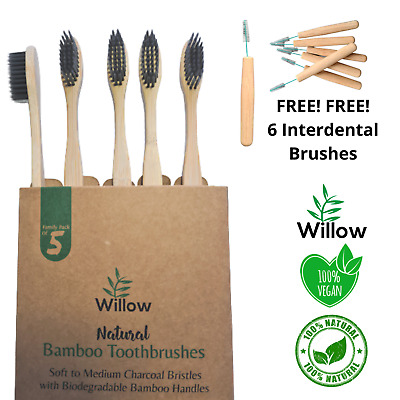 Bamboo Charcoal Toothbrush Eco Biodegradable Anti Bacterial Soft Bristles 4 Pack
