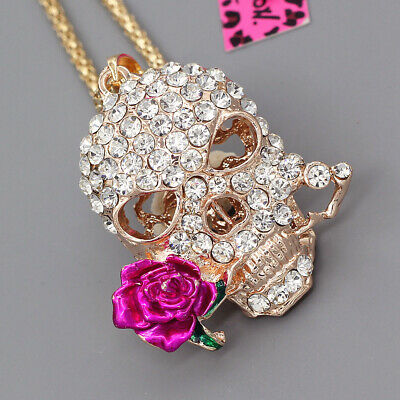 Betsey Johnson Inlaid Crystal Rose Flower Skull Head Pendant Long Chain Necklace