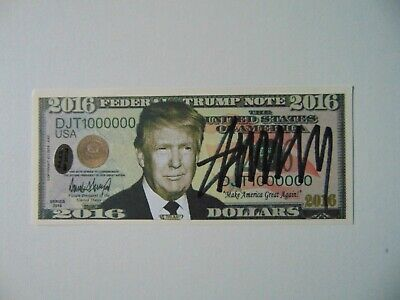 """""""45th US President"""" Donald Trump Signed 2016 Federal Trump Note PAAS COA"""