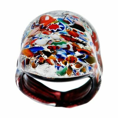 QVC Vicenza Silver Sterling Bold Murano Glass Ring Size 5.50