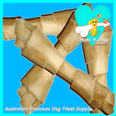 "BUFFALO RAWHIDE KNOTS 10"" X 10 TREATS 4 DOGS (Safe Not Bleached) Natural Chews"