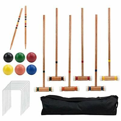 Six-Player Deluxe Croquet Set With Wooden Mallets, Colored Balls, &amp Sturdy By