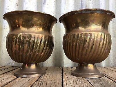 VINTAGE 2x SOLID BRASS Footed JARDINIERE Planter Pots RETRO