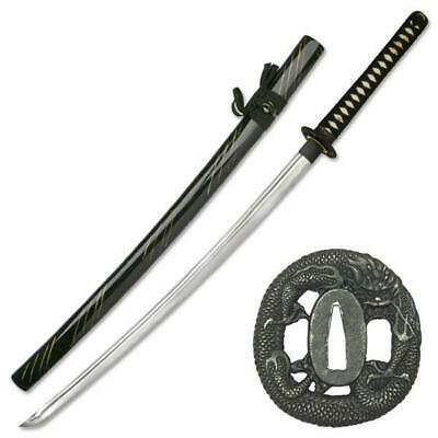 NEW War Sword Dragon Katana 1045 Hand Forged Carbon Steel Blade Live Blade Black
