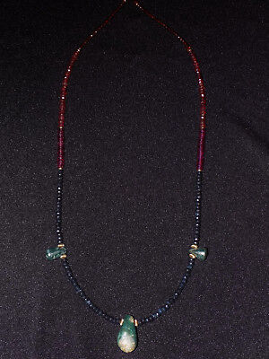 Pre-Columbian Blue Jade Axe Pendant Necklace with Sapphires and Gold, Costa Rica