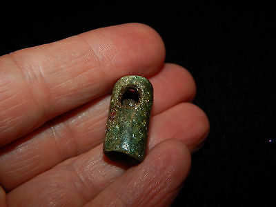 Authentic Pre-Columbian Blue Green Jade Bead