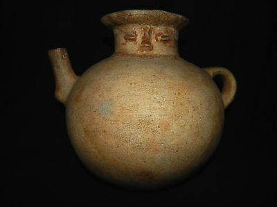 Pre-Columbian Mayan Clay Globular Vessel with Spout, Authentic