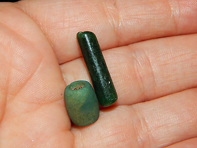 Pre-Columbian Tubular Blue Green Jade Beads, Set of 2, Authentic,