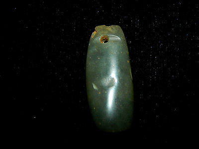 Pre-Columbian Olive Green Jade Pendant Bead, Translucent,  Authentic