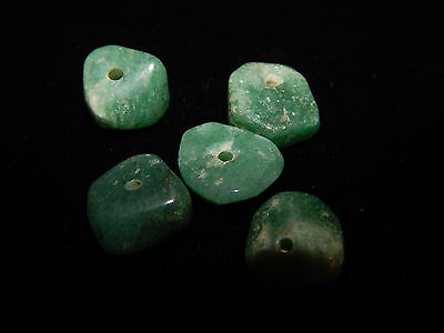 Pre-Columbian Green Jade Beads, Set of 5, Translucent Disc Beads, Authentic