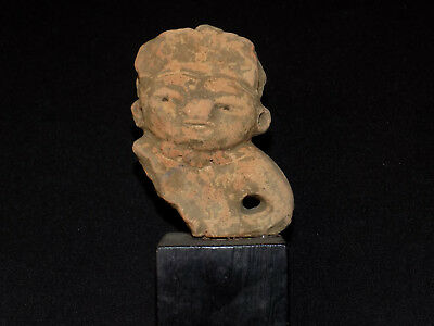 Pre-Columbian Mayan Effigy Clay Figure Fragment, Central America