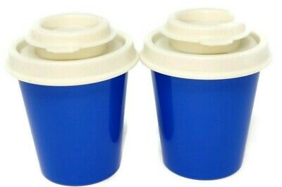 Tupperware Salt and Pepper Shakers in Beautiful Blue Sapphire & White lid S/F