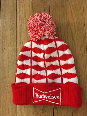 Budweiser Beer Touque Knitted Beenie Winter Gear Hat Rare Red Christmas American